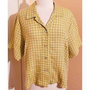 Flax Yellow Linen Grid Button Down Shirt